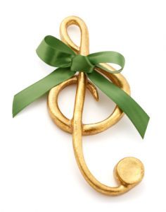 Gold Treble Clef Christmas Ornament with Green Bow
